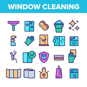 Venster schoonmaken teken icons set