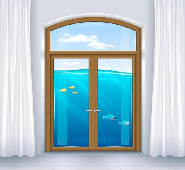 Venster van onderwaterlandschap