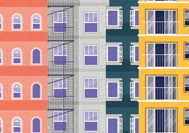 Vensters buiten gekleurd gebouwen vectorontwerp