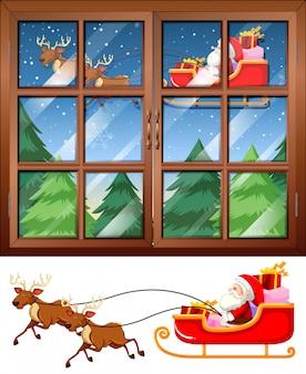Vensterscène met kerstman die slee vliegen bij nacht