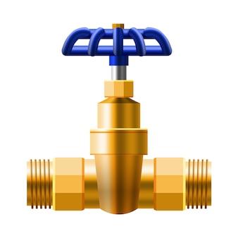 Ventielkogel, fittingen, metalen bronzen buizen, koperen leidingsysteem. klepwater, olie, gasleiding, riolering