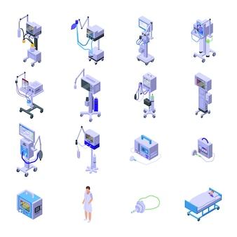 Ventilator medische machine pictogrammen instellen. isometrische set van beademingsapparaat medische machine iconen voor web