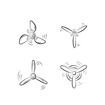 Ventilator, propellers, rotorverhuizer, vliegtuigpropellerpictogrammen, windventilator roterende prop, vliegtuigschroef, pictogrammen. set propellers vliegtuig