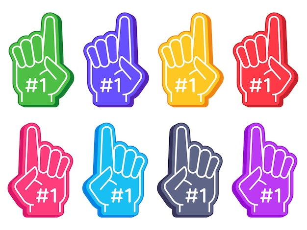 Ventilatorschuim vingers. kleur sporthandschoen met nummer één, stadion supporter trots accessoire, american football schattige souvenir vector set. illustratie foam vinger voor fansport, supporter accessoire