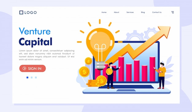 Venture capital landing page website-sjabloon
