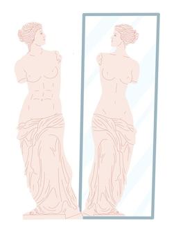 Venusbeeld kijkt naar haar spiegelbeeld in de spiegel.