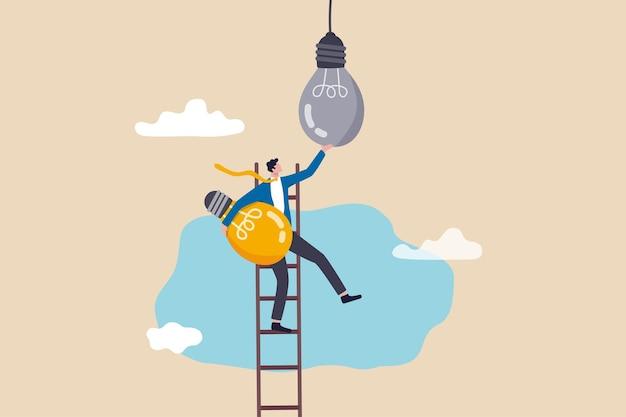 Verander naar nieuwe innovatie, transformeer naar nieuwe business, oplossing om het oude model te verstoren of te vervangen door een helder technologieconcept