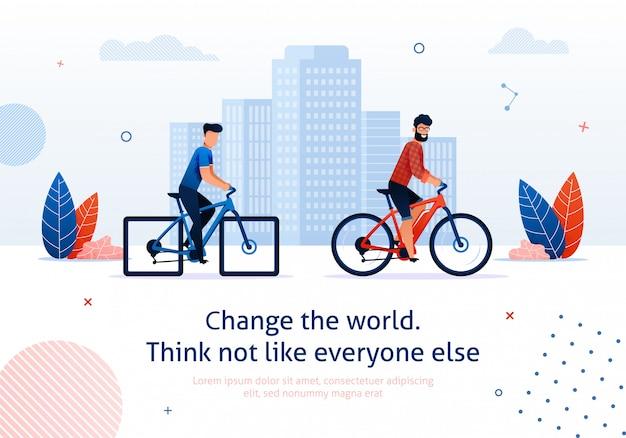 Verander wereld cartoon man rit elektrische fiets