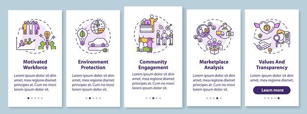 Verantwoord zakendoen aan boord van mobiele app-paginascherm met concepten. grafische instructies voor stapsgewijze instructies voor duurzame productie. ui-sjabloon met rgb-kleurenillustraties