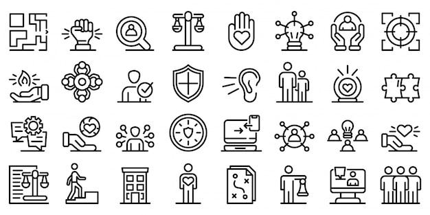 Verantwoordelijkheid iconen set, kaderstijl