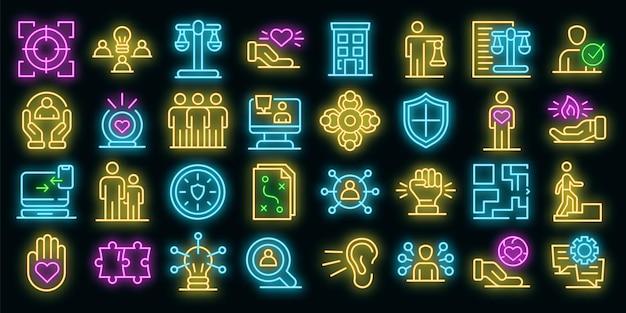 Verantwoordelijkheid pictogrammen instellen. overzicht set van verantwoordelijkheid vector iconen neon kleur op zwart