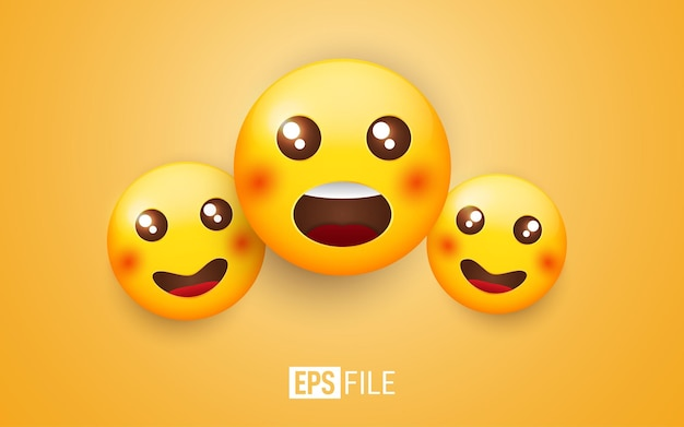 Verbaasd gezicht emoticons op geel