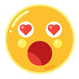 Verbaasd gezicht met hartogen emoticon