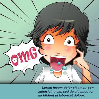 Verbaasd jong met open mond in cartoon-stijl.