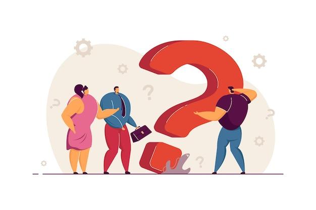 Verbaasde kleine zakenmensen die een oplossing zoeken bij een groot vraagteken en om hulp vragen