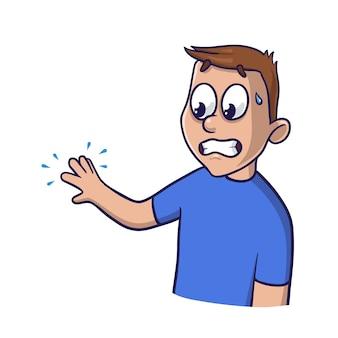 Verbaasde man kijkt naar zijn tintelende hand met denkbeeldige blauwe golven. geïsoleerde vlakke afbeelding