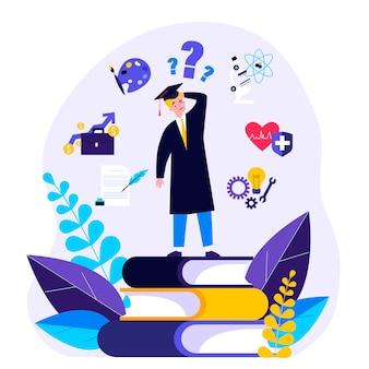 Verbaasde student die keuze maakt over zijn toekomstige carrièrepad