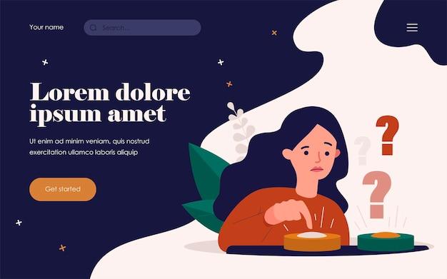 Verbaasde vrouw die tussen twee knopen kiest en blauwe duwt. vectorillustratie voor moeilijke keuze, dilemma, kansen, besluitvormingsconcept