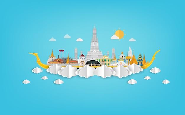 Verbazend thailand met aantrekkelijkheden op blauwe papercutillustratie
