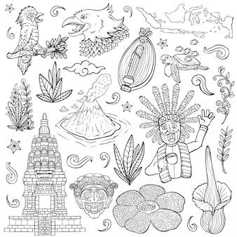 Verbazingwekkende cultuurflora en fauna indonesië schetsen geïsoleerde illustratie