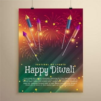 Verbazingwekkende diwali festival flyer sjabloon met vuurwerk en vliegende raketten