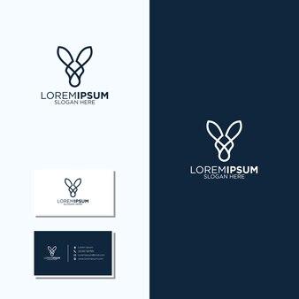 Verbazingwekkende lijn kunst kangoeroe-logo en visitekaartjes