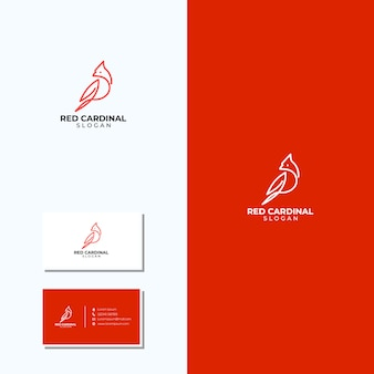 Verbazingwekkende lijnkunst kardinaal logo en visitekaartjes