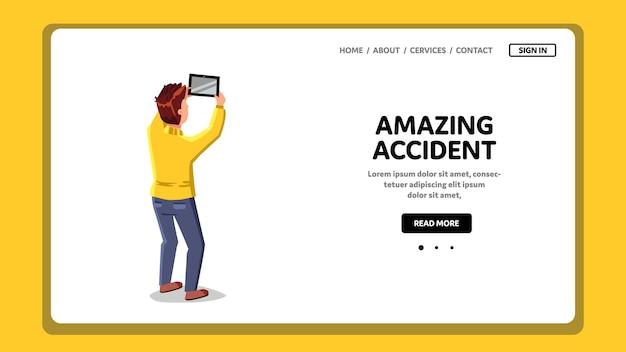 Verbazingwekkende ongeval man schieten op tablet vector. jonge jongen fotograferen of video maken van een geweldig ongeval op een elektronisch apparaatgadget. karakter maken foto web platte cartoon illustratie