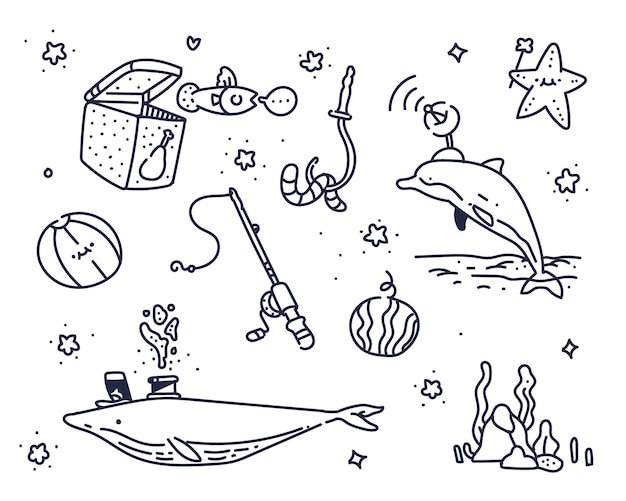 Verbeelding over de zee. zee schattig doodle