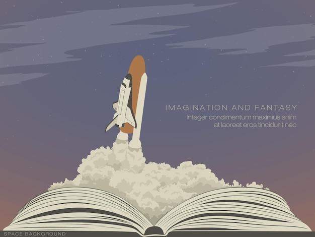 Verbeeldingsliteratuur, vliegend ruimteschip uit een open boek.