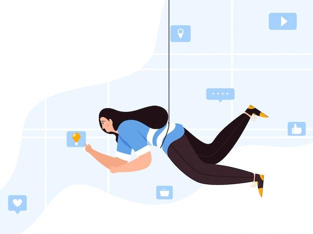Verbeeldingsvrouw die social media app op abstracte achtergrond gebruiken.