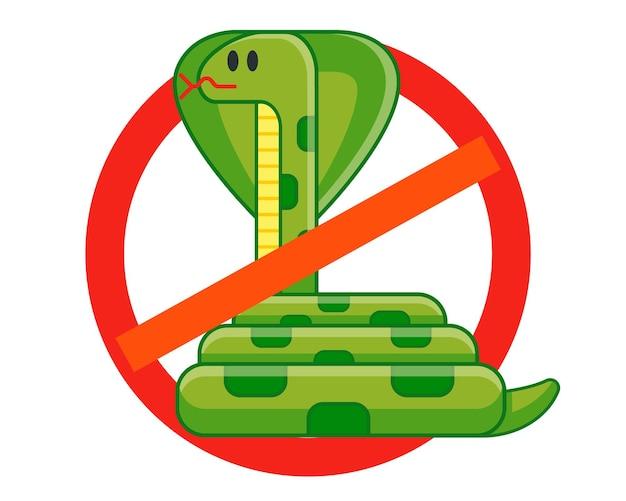 Verbied slangen. definitie van giftig gevaar. tegengif voor beten. platte geïsoleerde vectorillustratie.