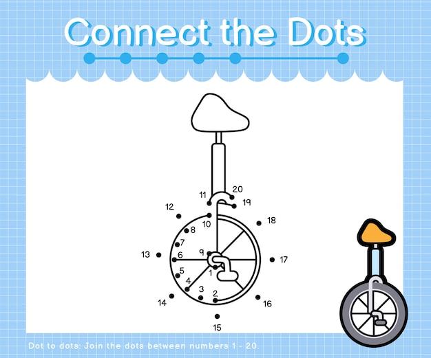 Verbind de stippen eenwieler - stip om spelletjes voor kinderen te tellen
