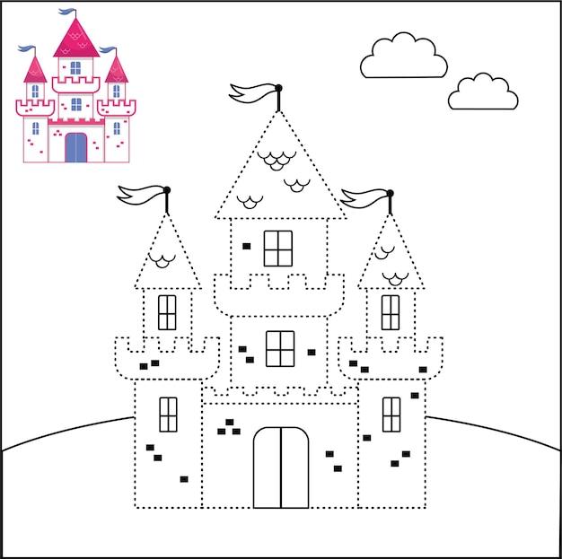 Verbind de stippen en kleurplaat kasteel vector illustratie
