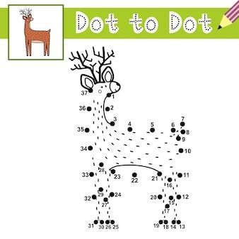 Verbind de stippen en teken een schattig hert van punt naar punt spel met grappige rendieren educatieve pagina voor kinderen