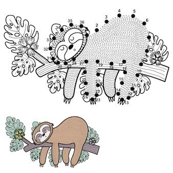 Verbind de stippen en teken een schattige luiaard
