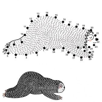 Verbind de stippen en teken een schattige slapende luiaard
