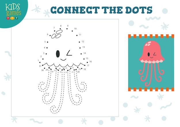 Verbind de stippen kinder game illustratie. kleuters tekenen activiteit met het aansluiten van de stip om het schattige kwallenkarakter te stippelen