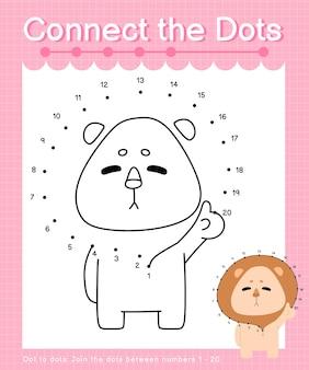Verbind de stippen leeuw - stip met stip spelletjes voor kinderen die nummer 1-20 tellen