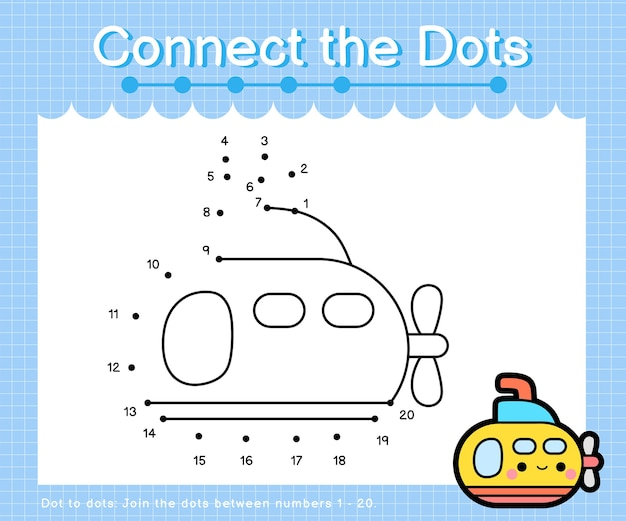 Verbind de stippen marine-onderzeeër - dot-to-dot-spellen voor kinderen die het aantal tellen