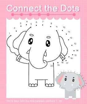 Verbind de stippen olifant - stip naar stip spelletjes voor kinderen die nummer 1-20 tellen