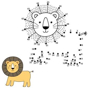 Verbind de stippen om de schattige leeuw te tekenen en kleur deze in. educatieve nummers en kleurenspel voor kinderen. illustratie