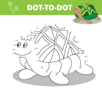 Verbind de stippen om het educatieve dierenspel voor kinderen schildpad vectorillustratie te tekenen