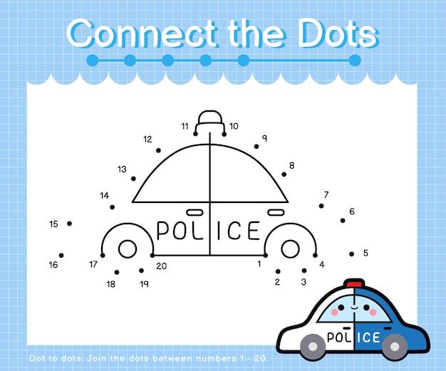 Verbind de stippen politieauto - punt om spelletjes voor kinderen te tellen