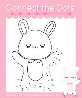 Verbind de stippen: rabbit - dot to dot-spellen voor kinderen die nummer 1-20 tellen