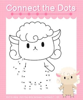 Verbind de stippen schapenstip met stippelspellen voor kinderen die nummer 1 tot en met 20 tellen