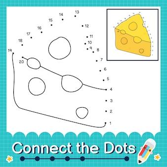 Verbind de stippen tellende getallen 1 tot 20 puzzelwerkblad met cheese