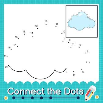 Verbind de stippen tellende getallen 1 tot 20 puzzelwerkblad met cloud