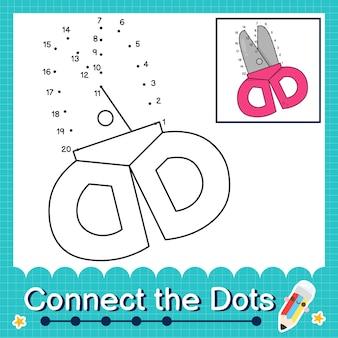 Verbind de stippen tellende getallen 1 tot 20 puzzelwerkblad met een schaar
