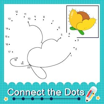 Verbind de stippen tellende getallen 1 tot 20 puzzelwerkblad met flower